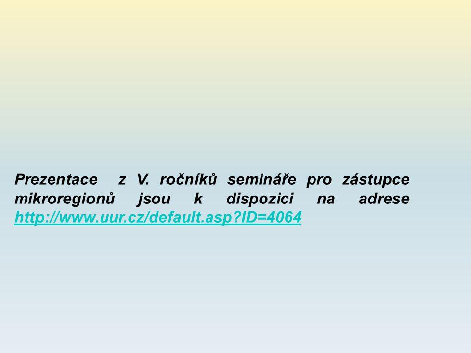Prezentace z V. ročníků semináře pro zástupce mikroregionů jsou k dispozici na adrese http://www.uur.cz/default.asp?ID=4064 http://www.uur.cz/default.