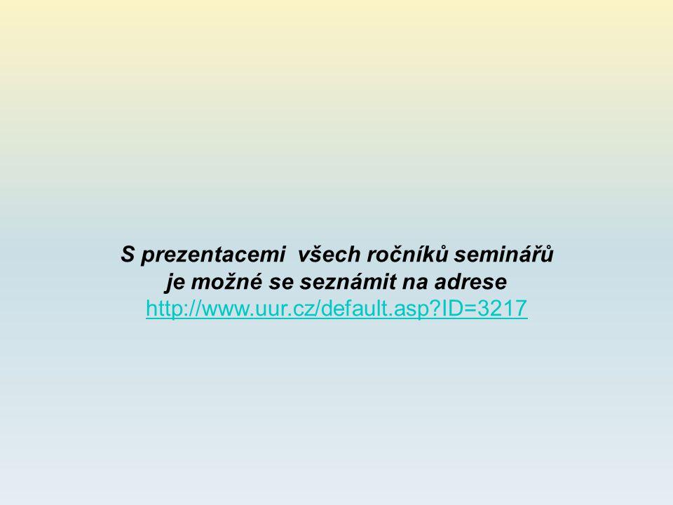 S prezentacemi všech ročníků seminářů je možné se seznámit na adrese http://www.uur.cz/default.asp?ID=3217 http://www.uur.cz/default.asp?ID=3217