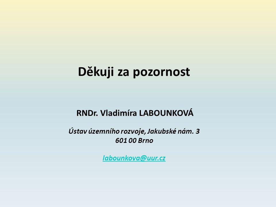 Děkuji za pozornost RNDr. Vladimíra LABOUNKOVÁ Ústav územního rozvoje, Jakubské nám. 3 601 00 Brno labounkova@uur.cz