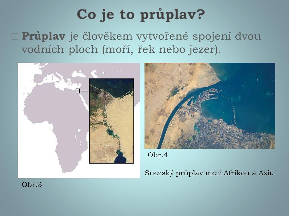  Průplav je člověkem vytvořené spojení dvou vodních ploch (moří, řek nebo jezer). Suezský průplav mezi Afrikou a Asií. Obr.3 Obr.4