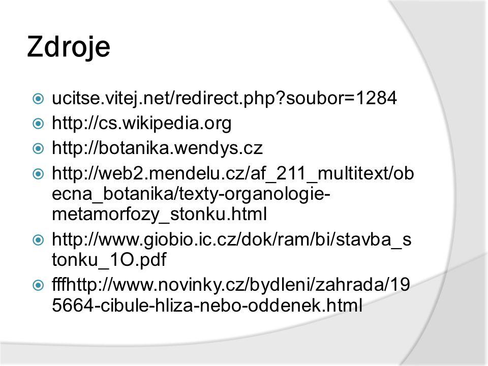 Zdroje  ucitse.vitej.net/redirect.php?soubor=1284  http://cs.wikipedia.org  http://botanika.wendys.cz  http://web2.mendelu.cz/af_211_multitext/ob