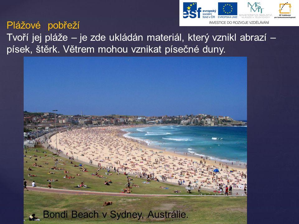 Plážové pobřeží Tvoří jej pláže – je zde ukládán materiál, který vznikl abrazí – písek, štěrk. Větrem mohou vznikat písečné duny. Bondi Beach v Sydney