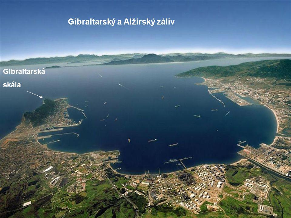 Gibraltarská skála Afrika Evropa Alantický oceán Středozemní moře