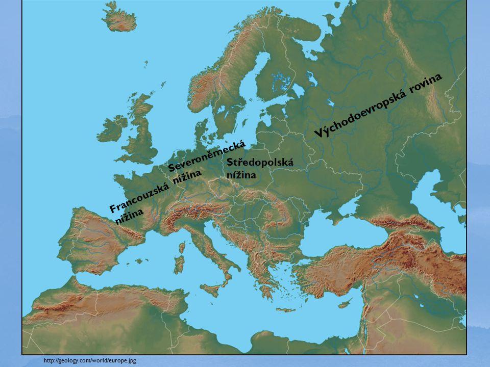 http://geology.com/world/europe.jpg Východoevropská rovina Středopolská nížina Severoněmecká nížina Francouzská nížina