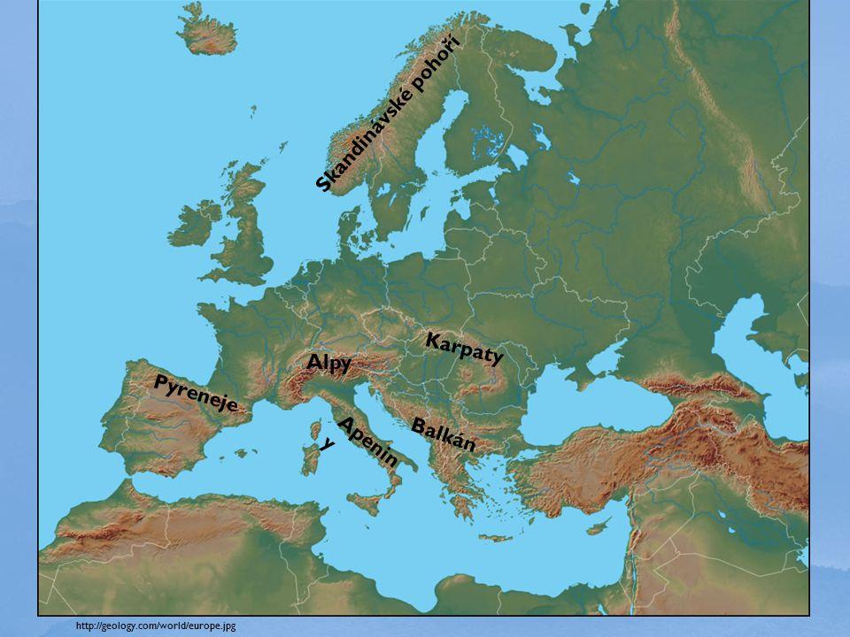 http://geology.com/world/europe.jpg Alpy Pyreneje Apenin y Balkán Skandinávské pohoří Karpaty