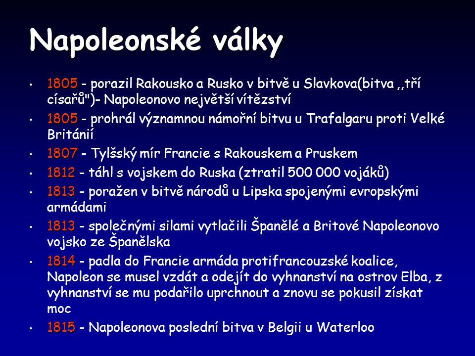 Napoleonské války 1805 1805 - porazil Rakousko a Rusko v bitvě u Slavkova(bitva,,tří císařů )- Napoleonovo největší vítězství 1805 1805 - prohrál významnou námořní bitvu u Trafalgaru proti Velké Británií 1807 1807 - Tylšský mír Francie s Rakouskem a Pruskem 1812 1812 - táhl s vojskem do Ruska (ztratil 500 000 vojáků) 1813 1813 - poražen v bitvě národů u Lipska spojenými evropskými armádami 1813 1813 - společnými silami vytlačili Španělé a Britové Napoleonovo vojsko ze Španělska 1814 1814 - padla do Francie armáda protifrancouzské koalice, Napoleon se musel vzdát a odejít do vyhnanství na ostrov Elba, z vyhnanství se mu podařilo uprchnout a znovu se pokusil získat moc 1815 1815 - Napoleonova poslední bitva v Belgii u Waterloo