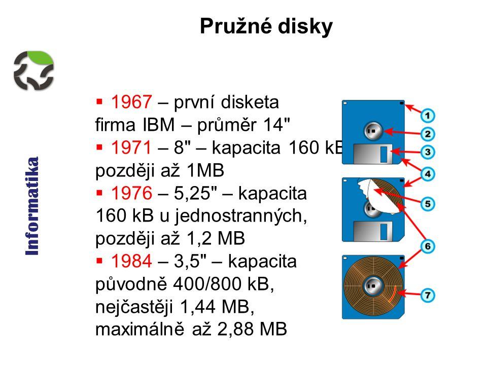 Informatika Pružné disky  1967 – první disketa firma IBM – průměr 14