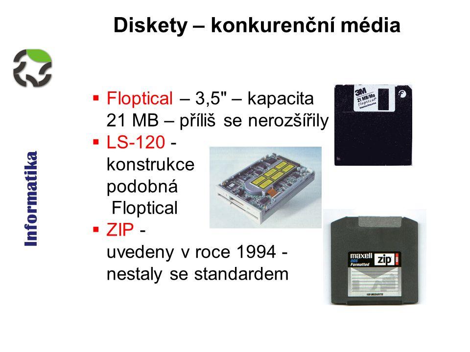 Informatika Diskety – konkurenční média  Floptical – 3,5