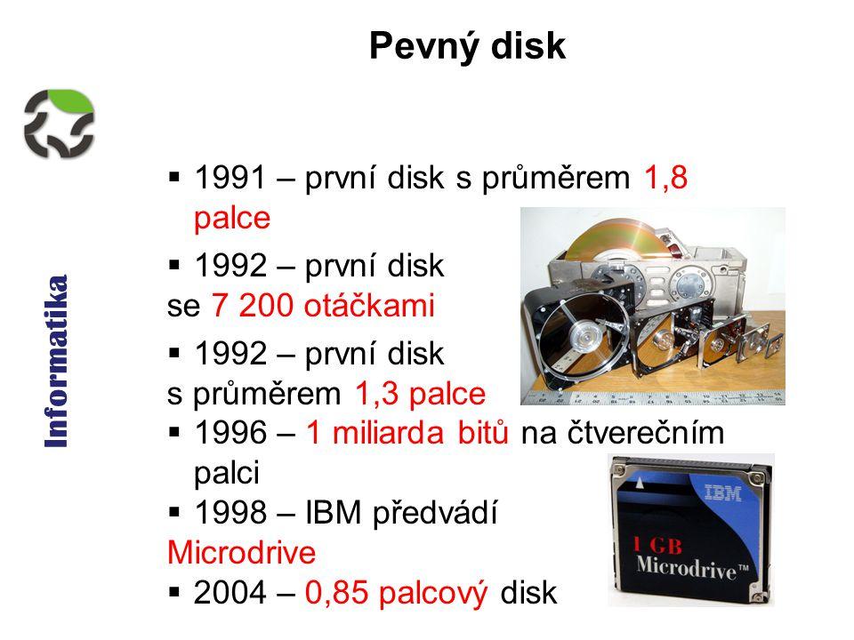 Informatika Pevný disk  1991 – první disk s průměrem 1,8 palce  1992 – první disk se 7 200 otáčkami  1992 – první disk s průměrem 1,3 palce  1996 – 1 miliarda bitů na čtverečním palci  1998 – IBM předvádí Microdrive  2004 – 0,85 palcový disk