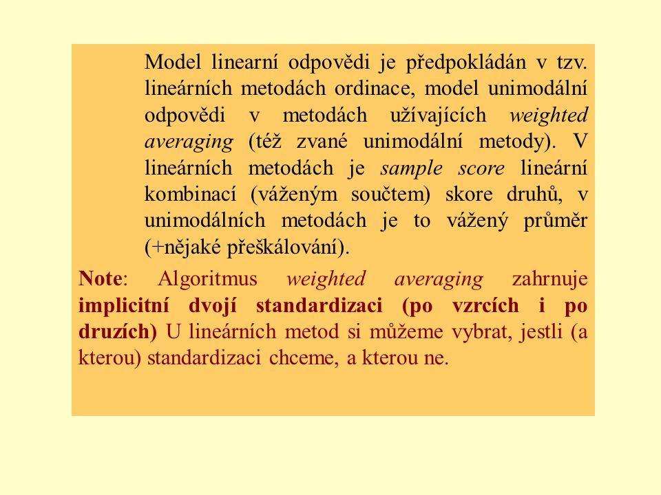 Model linearní odpovědi je předpokládán v tzv. lineárních metodách ordinace, model unimodální odpovědi v metodách užívajících weighted averaging (též