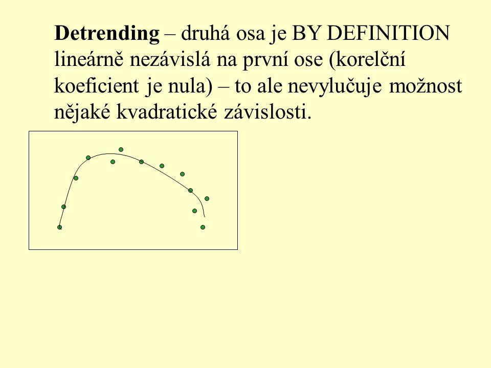 Detrending – druhá osa je BY DEFINITION lineárně nezávislá na první ose (korelční koeficient je nula) – to ale nevylučuje možnost nějaké kvadratické z