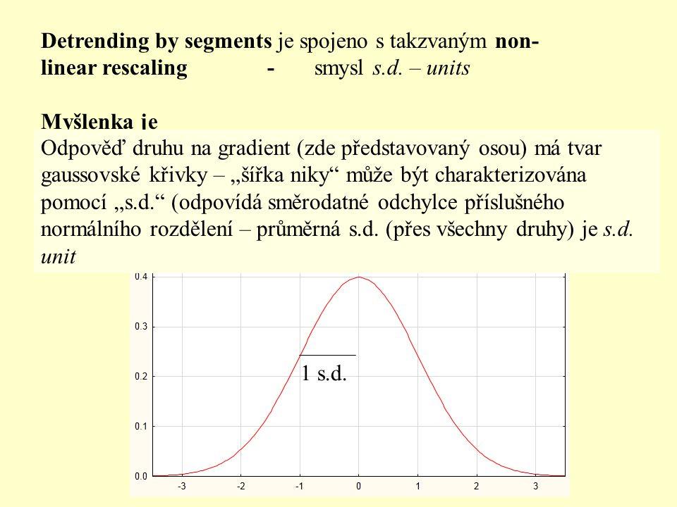Detrending by segments je spojeno s takzvaným non- linear rescaling - smysl s.d. – units Myšlenka je 1 s.d. Odpověď druhu na gradient (zde představova