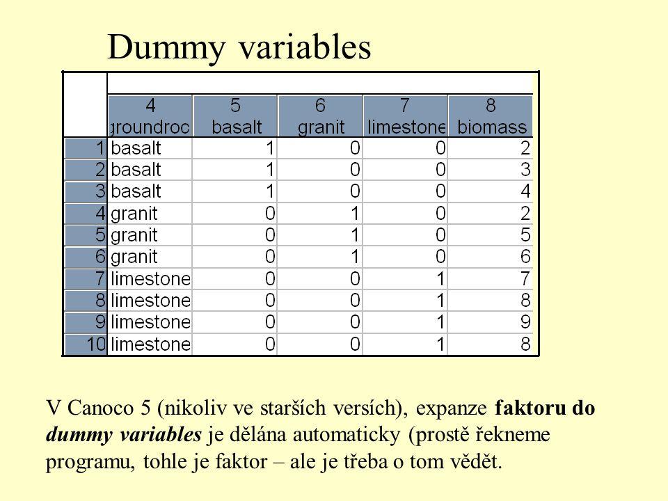 Dummy variables V Canoco 5 (nikoliv ve starších versích), expanze faktoru do dummy variables je dělána automaticky (prostě řekneme programu, tohle je