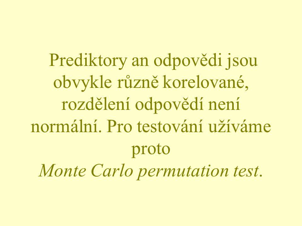 Prediktory an odpovědi jsou obvykle různě korelované, rozdělení odpovědí není normální. Pro testování užíváme proto Monte Carlo permutation test.
