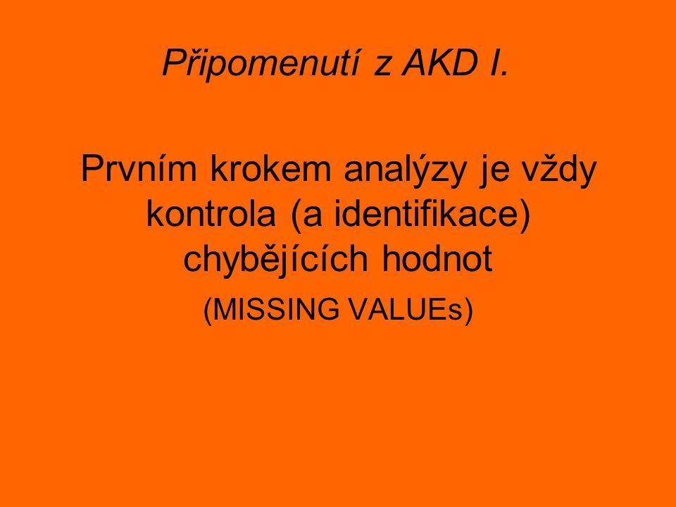 Prvním krokem analýzy je vždy kontrola (a identifikace) chybějících hodnot (MISSING VALUEs) Připomenutí z AKD I.
