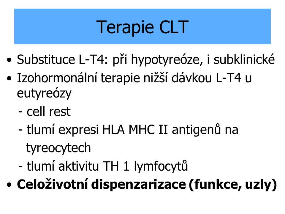 Terapie CLT Substituce L-T4: při hypotyreóze, i subklinické Izohormonální terapie nižší dávkou L-T4 u eutyreózy - cell rest - tlumí expresi HLA MHC II