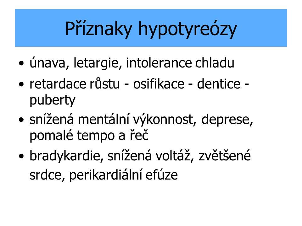 Příznaky hypotyreózy xerodermie, bledá kůže (karotenová), otoky myopatie, bolesti a křeče ve svalech Laboratorní změny: ↑ TSH, ↓ FT4 zvýšený celk.cholesterol, LDL, Lp A, Apo B,E, zvýšené ALT, AST, CK anémie, hypoglykémie, hyponatrémie