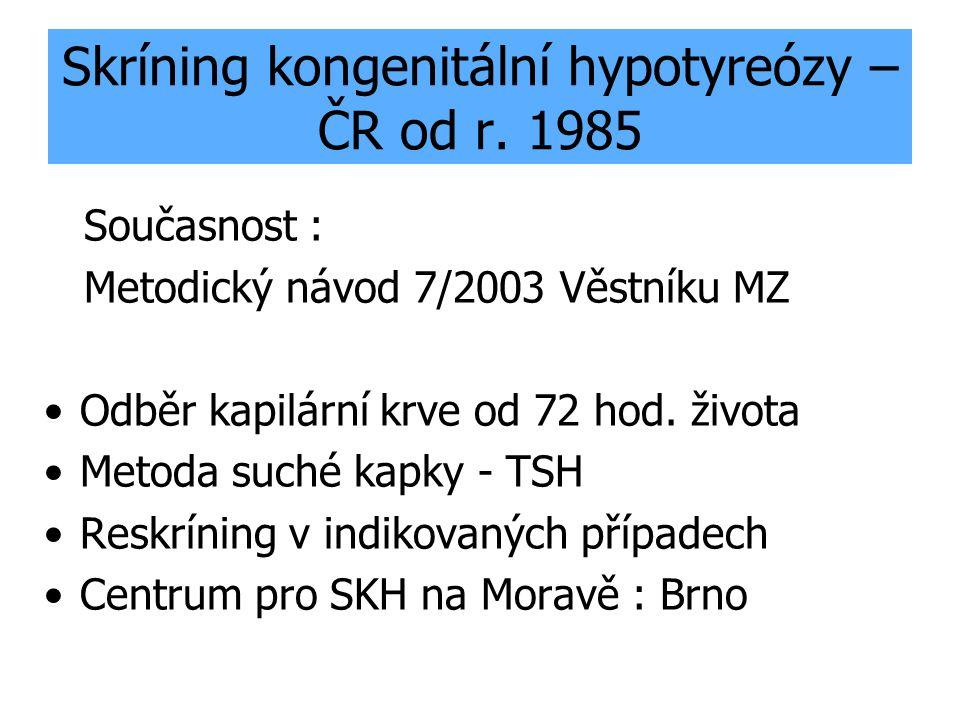 Skríning kongenitální hypotyreózy – ČR od r. 1985 Současnost : Metodický návod 7/2003 Věstníku MZ Odběr kapilární krve od 72 hod. života Metoda suché