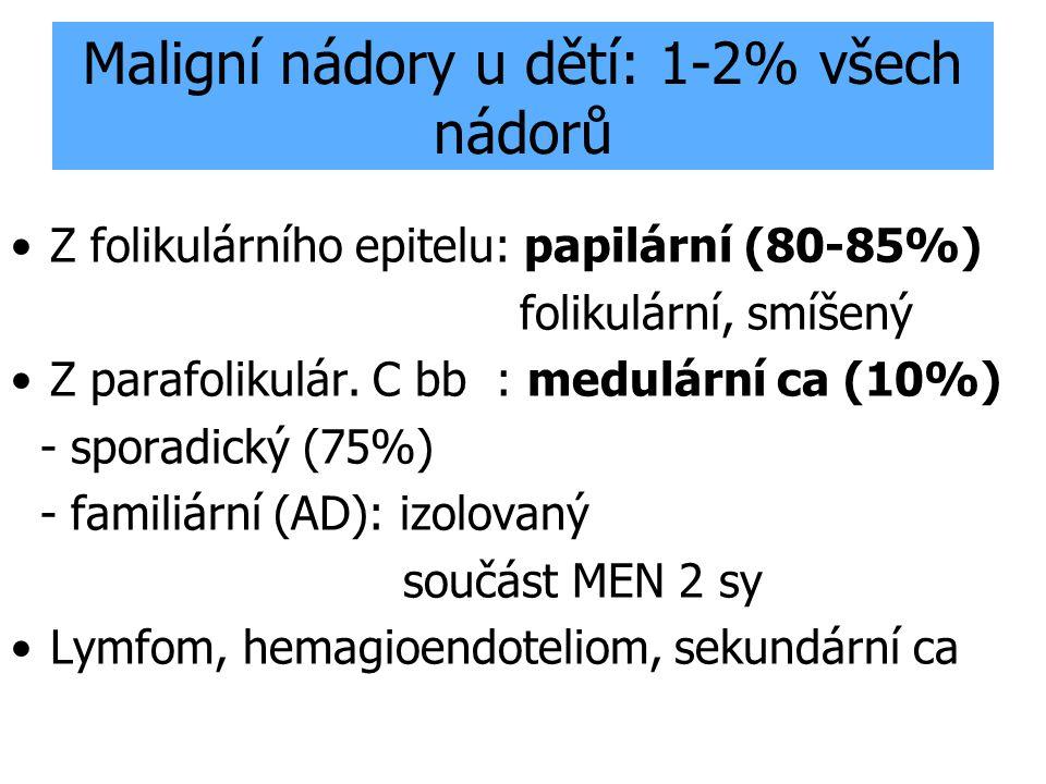 """Diagnostika nádorů štítné žlázy Palpačně / UZ uzel 1 i více+ CAVE krční uzliny Scintigraficky """"studený uzel Punkční cytologie - Histologie Tumor markery Tg v séru Kalcitonin v séru RET proto-onkogen (10q13) RET/PTC přeskupení"""