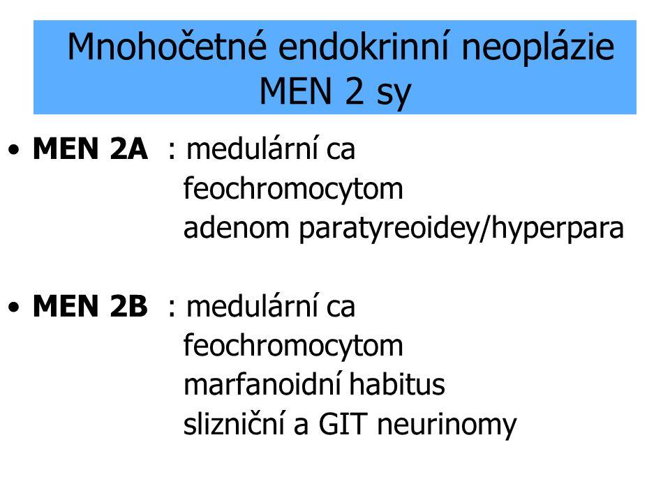 Mnohočetné endokrinní neoplázie MEN 2 sy MEN 2A : medulární ca feochromocytom adenom paratyreoidey/hyperpara MEN 2B : medulární ca feochromocytom marf