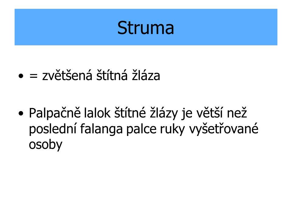 Struma = zvětšená štítná žláza Palpačně lalok štítné žlázy je větší než poslední falanga palce ruky vyšetřované osoby