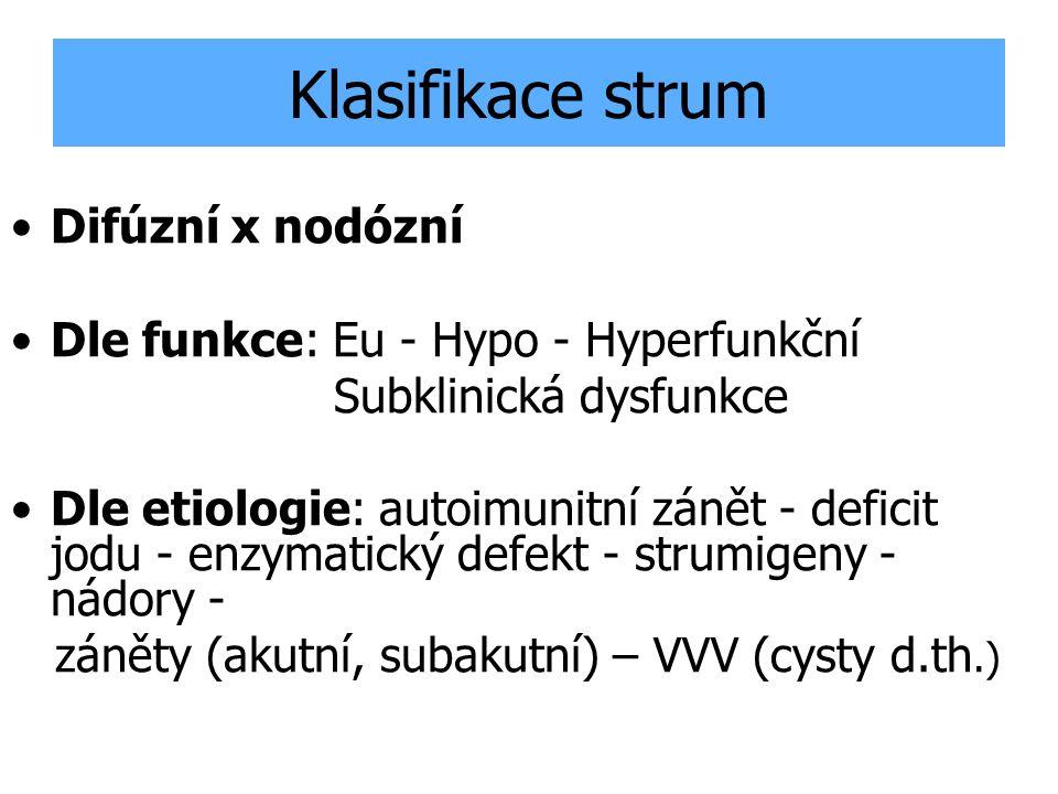 Klasifikace strum Difúzní x nodózní Dle funkce: Eu - Hypo - Hyperfunkční Subklinická dysfunkce Dle etiologie: autoimunitní zánět - deficit jodu - enzy