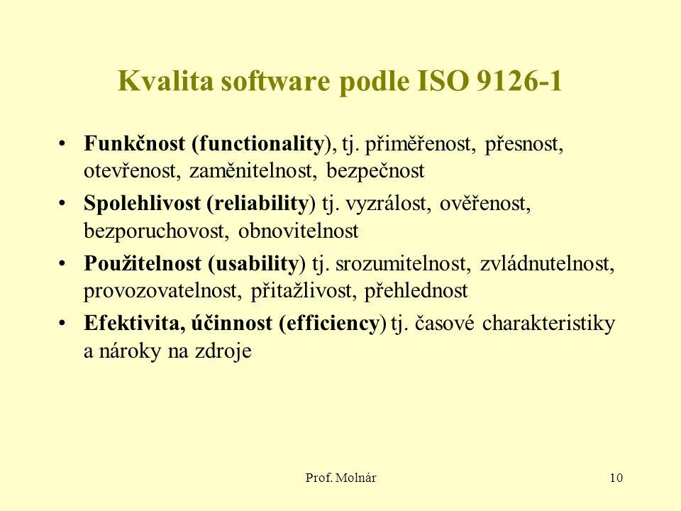 Prof. Molnár10 Kvalita software podle ISO 9126-1 Funkčnost (functionality), tj.