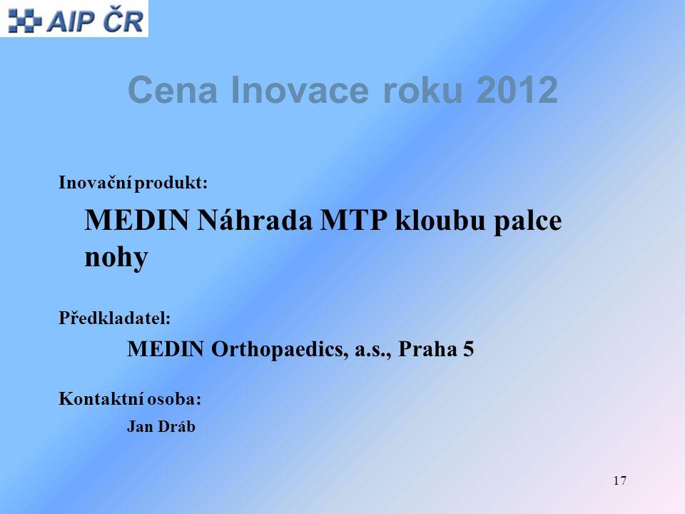 17 Cena Inovace roku 2012 Inovační produkt: MEDIN Náhrada MTP kloubu palce nohy Předkladatel: MEDIN Orthopaedics, a.s., Praha 5 Kontaktní osoba: Jan D