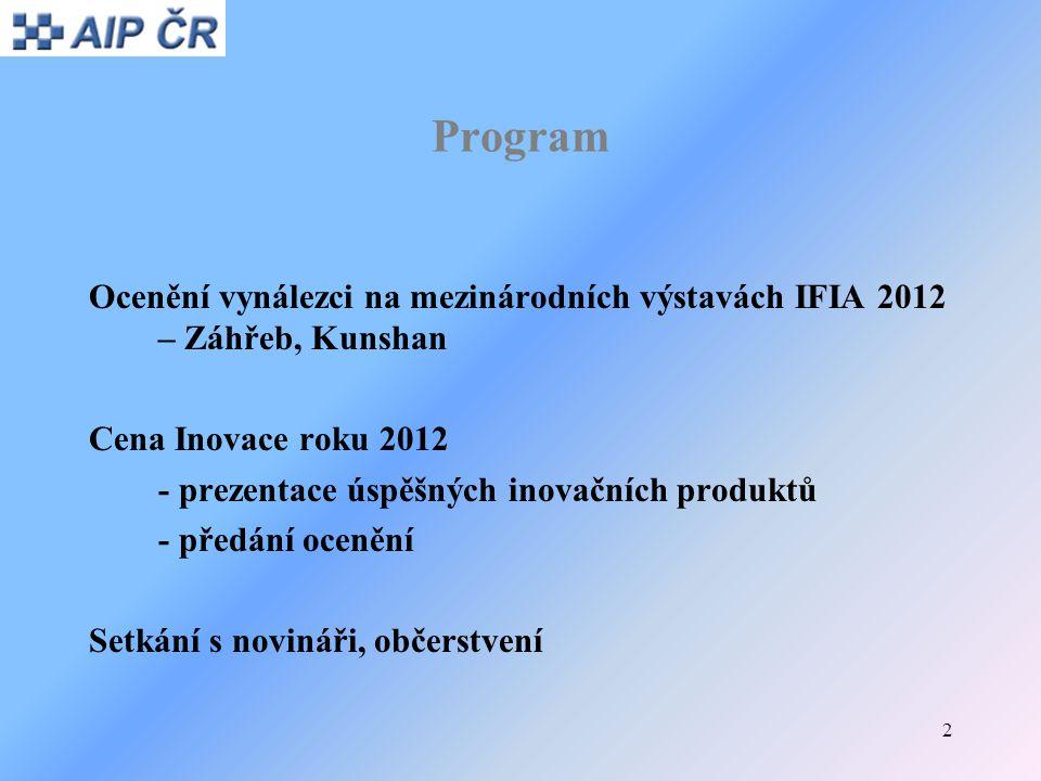 2 Program Ocenění vynálezci na mezinárodních výstavách IFIA 2012 – Záhřeb, Kunshan Cena Inovace roku 2012 - prezentace úspěšných inovačních produktů -