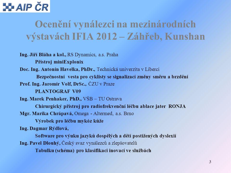 3 Ocenění vynálezci na mezinárodních výstavách IFIA 2012 – Záhřeb, Kunshan Ing. Jiří Bláha a kol., RS Dynamics, a.s. Praha Přístroj miniExplonix Doc.