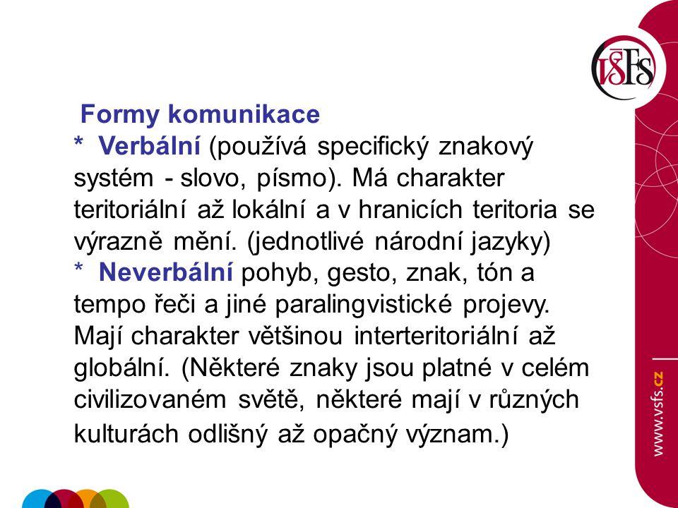 Formy komunikace * Verbální (používá specifický znakový systém - slovo, písmo). Má charakter teritoriální až lokální a v hranicích teritoria se výrazn