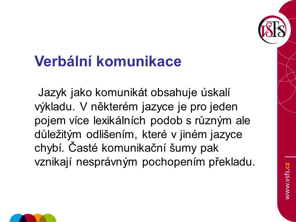 Verbální komunikace Jazyk jako komunikát obsahuje úskalí výkladu.