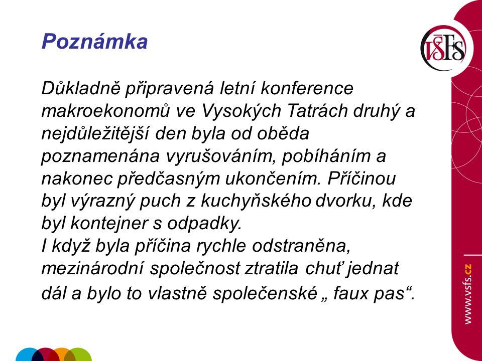 Poznámka Důkladně připravená letní konference makroekonomů ve Vysokých Tatrách druhý a nejdůležitější den byla od oběda poznamenána vyrušováním, pobíháním a nakonec předčasným ukončením.