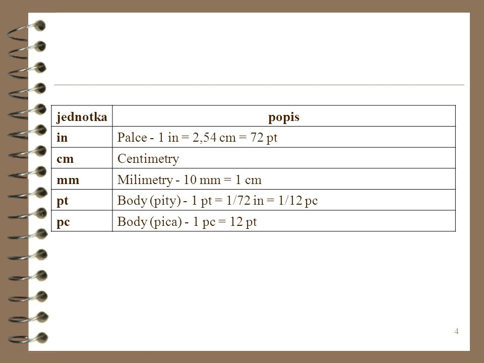 4 jednotkapopis inPalce - 1 in = 2,54 cm = 72 pt cmCentimetry mmMilimetry - 10 mm = 1 cm ptBody (pity) - 1 pt = 1/72 in = 1/12 pc pcBody (pica) - 1 pc = 12 pt