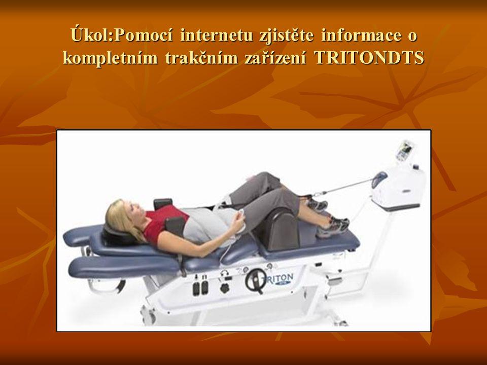 Možné řešení úkolu Jedná se o léčebný trakční přístroj, který umožňuje vzestupné, trakční a sestupné kroky trakce Jedná se o léčebný trakční přístroj, který umožňuje vzestupné, trakční a sestupné kroky trakce Umožňuje simulovat mnoho trakčních terapií (statické, přerušované a cyklické trakční programy nebo měkčí (příjemnější) trakční tah Umožňuje simulovat mnoho trakčních terapií (statické, přerušované a cyklické trakční programy nebo měkčí (příjemnější) trakční tah 80 uživatelských programů 80 uživatelských programů