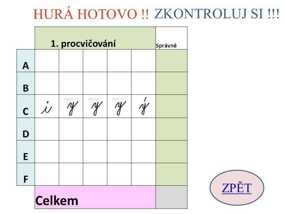 HURÁ HOTOVO !! ZKONTROLUJ SI !!! ZPĚT 1. procvičování Správně A B C D E F Celkem