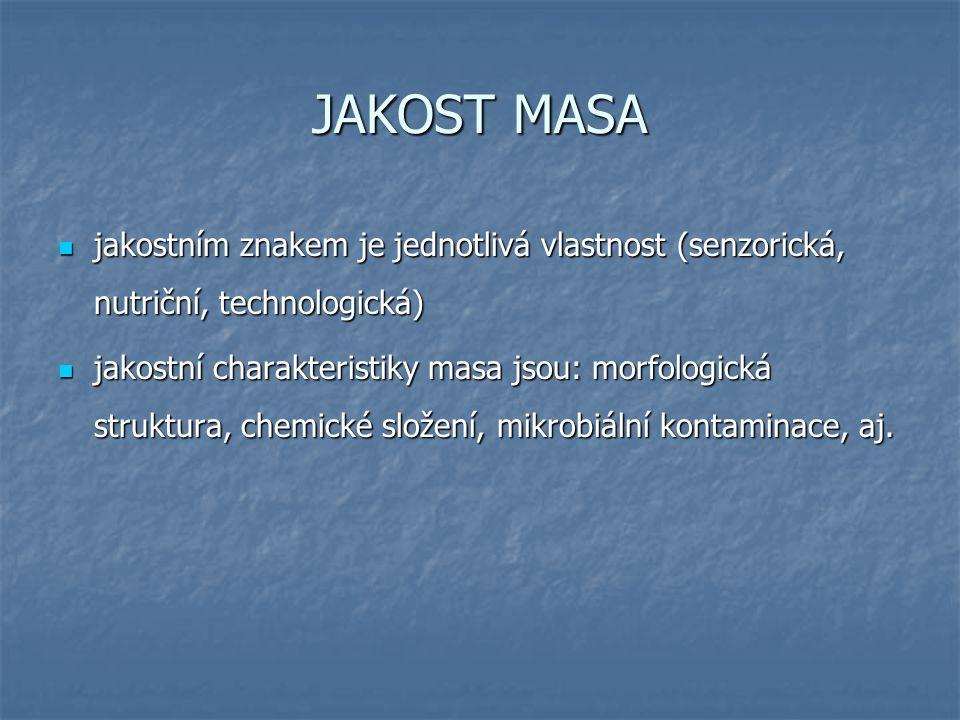 JAKOST MASA jakostním znakem je jednotlivá vlastnost (senzorická, nutriční, technologická) jakostním znakem je jednotlivá vlastnost (senzorická, nutriční, technologická) jakostní charakteristiky masa jsou: morfologická struktura, chemické složení, mikrobiální kontaminace, aj.