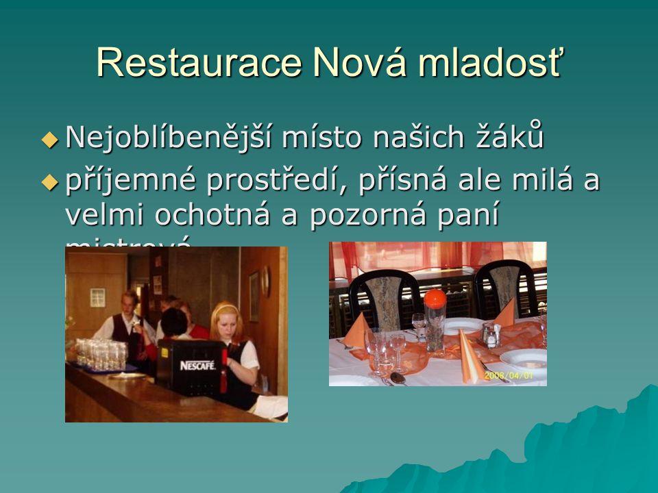 Restaurace Nová mladosť  Nejoblíbenější místo našich žáků  příjemné prostředí, přísná ale milá a velmi ochotná a pozorná paní mistrová.