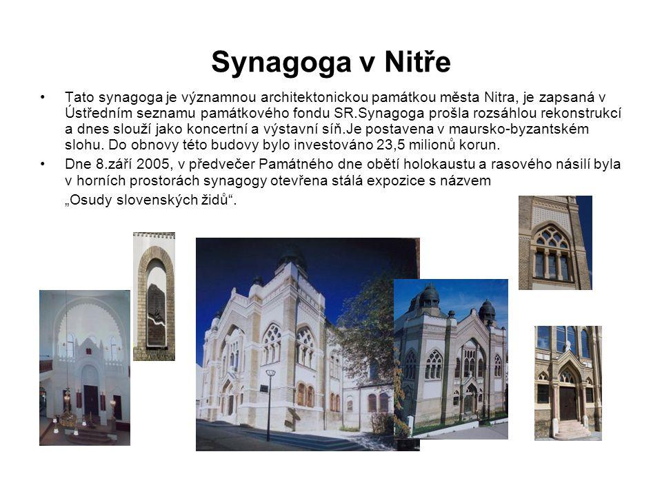 Synagoga v Nitře Tato synagoga je významnou architektonickou památkou města Nitra, je zapsaná v Ústředním seznamu památkového fondu SR.Synagoga prošla rozsáhlou rekonstrukcí a dnes slouží jako koncertní a výstavní síň.Je postavena v maursko-byzantském slohu.