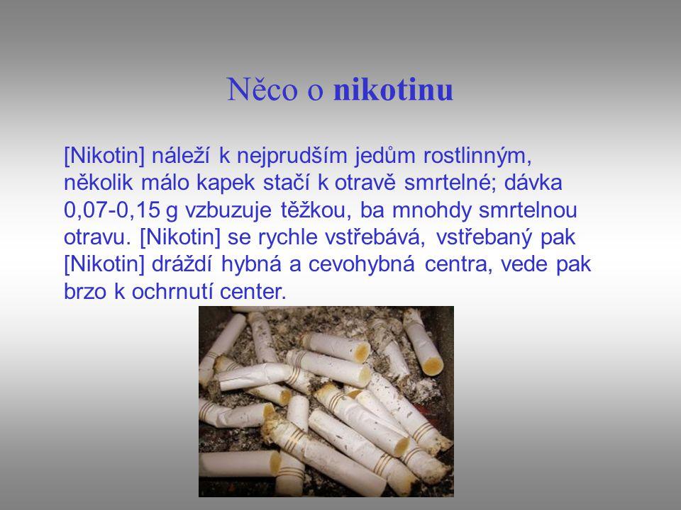 Něco o nikotinu [Nikotin] náleží k nejprudším jedům rostlinným, několik málo kapek stačí k otravě smrtelné; dávka 0,07-0,15 g vzbuzuje těžkou, ba mnoh