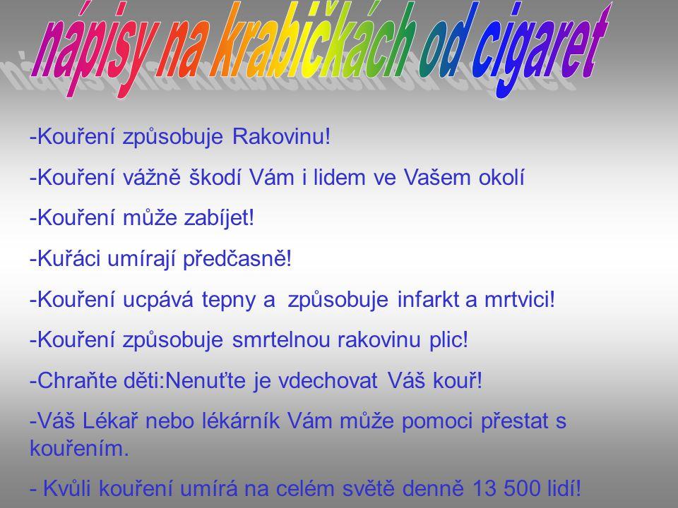 -Kouření způsobuje Rakovinu! -Kouření vážně škodí Vám i lidem ve Vašem okolí -Kouření může zabíjet! -Kuřáci umírají předčasně! -Kouření ucpává tepny a