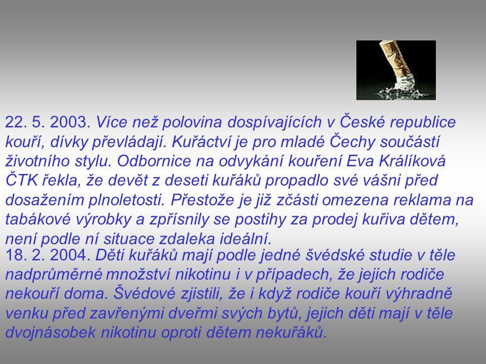 22. 5. 2003. Více než polovina dospívajících v České republice kouří, dívky převládají. Kuřáctví je pro mladé Čechy součástí životního stylu. Odbornic