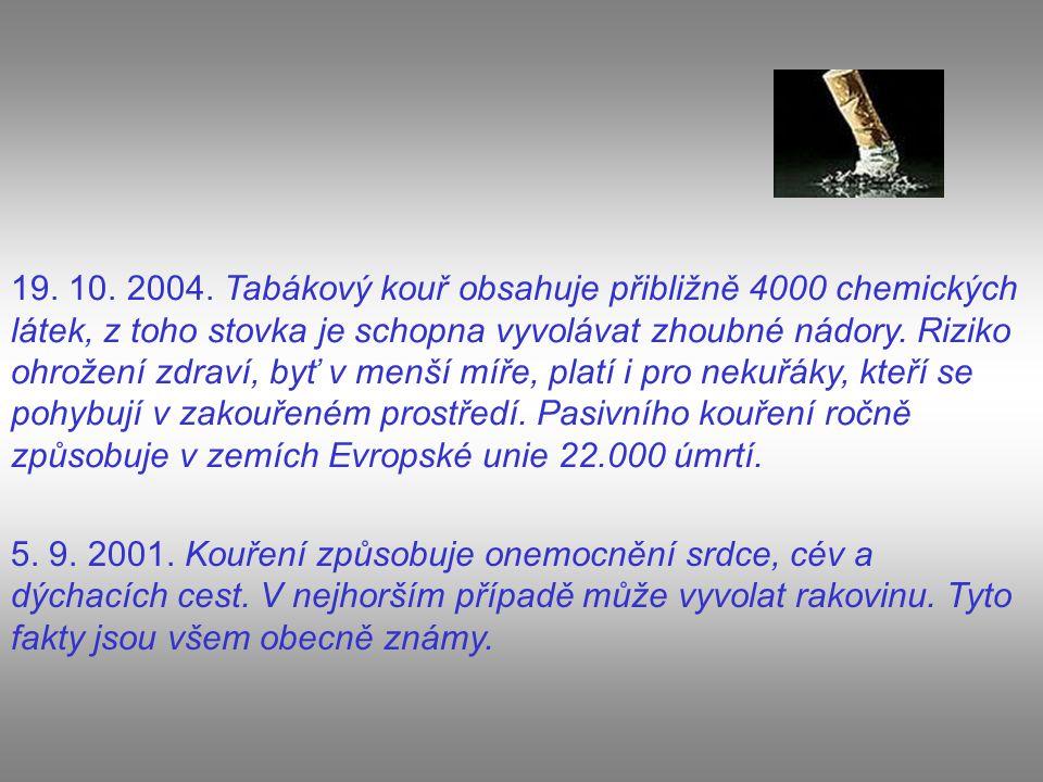 19. 10. 2004. Tabákový kouř obsahuje přibližně 4000 chemických látek, z toho stovka je schopna vyvolávat zhoubné nádory. Riziko ohrožení zdraví, byť v