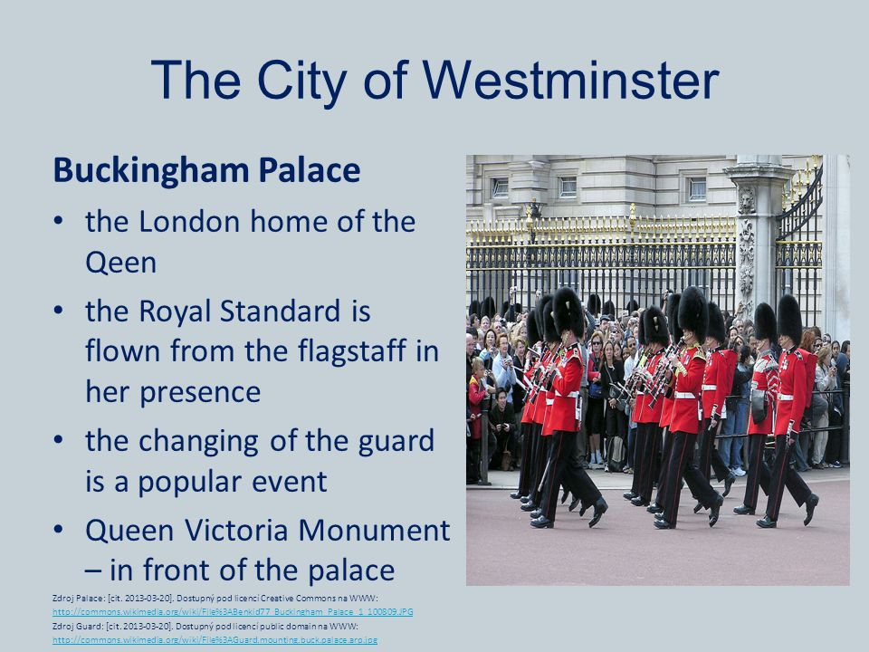 The City of Westminster Buckingham Palace the London home of the Qeen the Royal Standard is flown from the flagstaff in her presence the changing of t