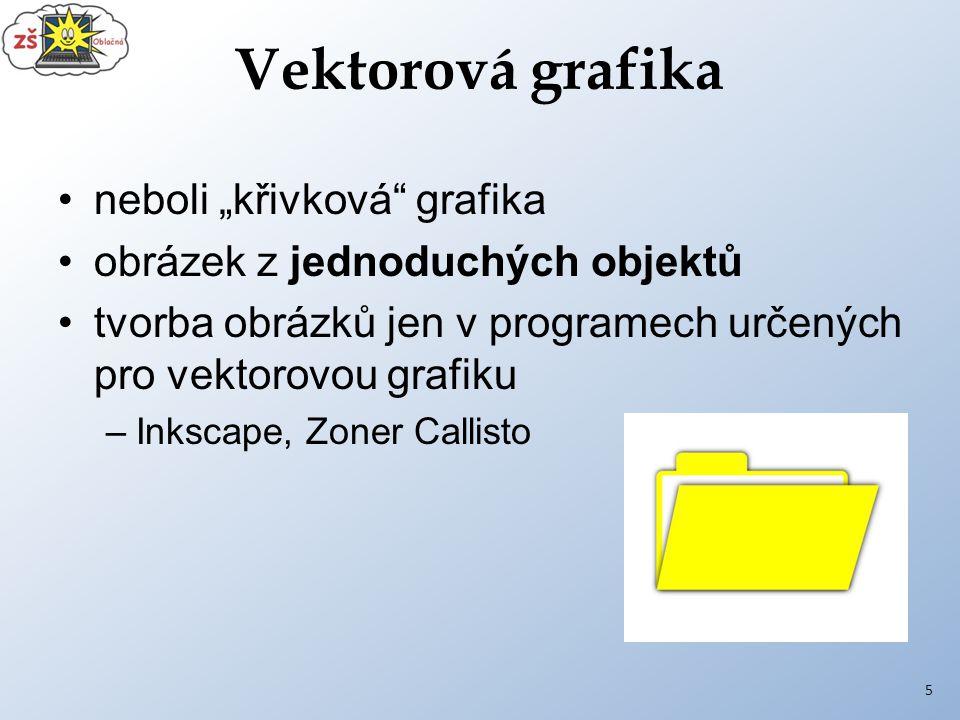 """Vektorová grafika neboli """"křivková grafika obrázek z jednoduchých objektů tvorba obrázků jen v programech určených pro vektorovou grafiku –Inkscape, Zoner Callisto 5"""