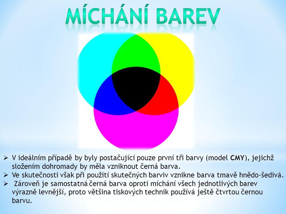  V ideálním případě by byly postačující pouze první tři barvy (model CMY), jejichž složením dohromady by měla vzniknout černá barva.