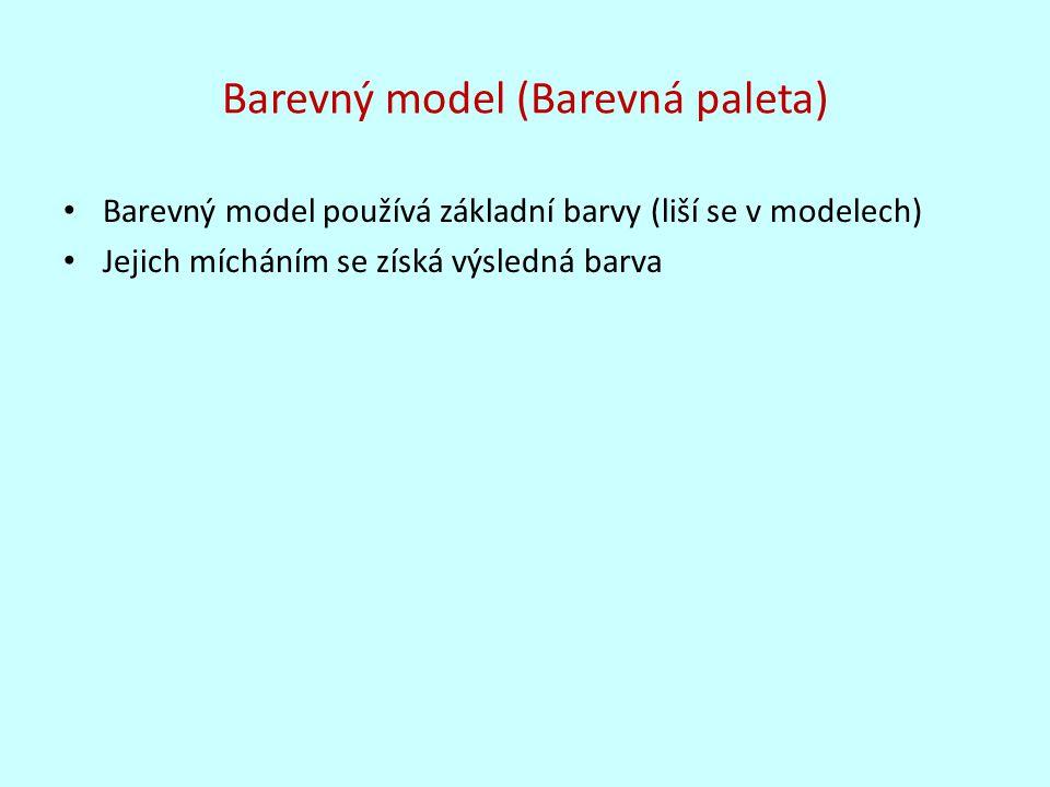 Základní rozdělení barevných modelů Aditivní míchání barev (slučování) Subtraktivní míchání barev (odečítání)