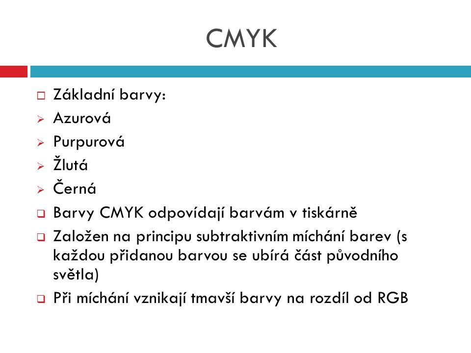 CMYK  Základní barvy:  Azurová  Purpurová  Žlutá  Černá  Barvy CMYK odpovídají barvám v tiskárně  Založen na principu subtraktivním míchání bar