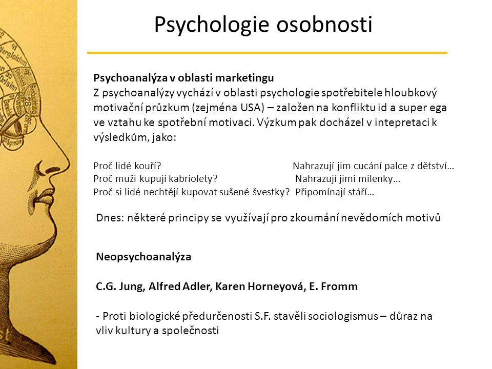 Psychologie osobnosti Psychoanalýza v oblasti marketingu Z psychoanalýzy vychází v oblasti psychologie spotřebitele hloubkový motivační průzkum (zejmé