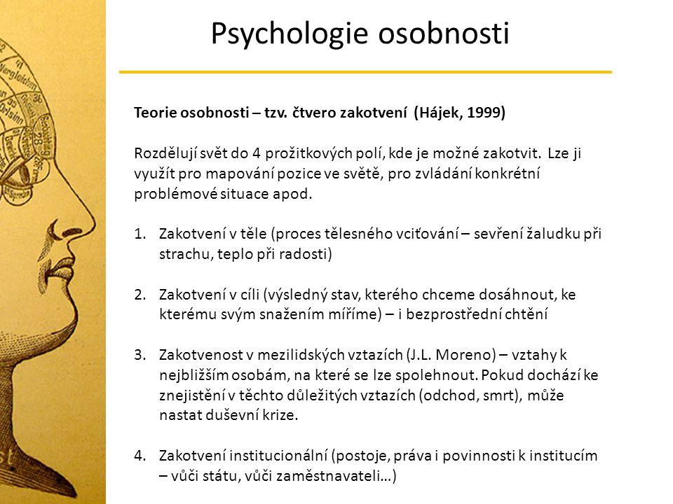 Psychologie osobnosti Teorie osobnosti – tzv. čtvero zakotvení (Hájek, 1999) Rozdělují svět do 4 prožitkových polí, kde je možné zakotvit. Lze ji využ